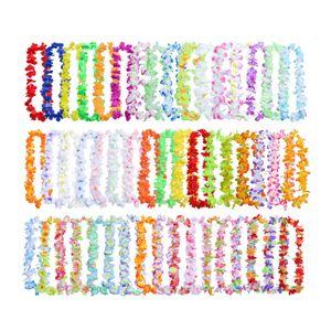 50PCS Multicolor Couronnes Collier hawaïen Leis Kegon Luau mariage de célébration anniversaire Décoration
