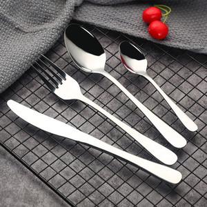 Juego de cubiertos de plata de alta calidad cuchara tenedor cuchillo cucharadita juego de vajilla de acero inoxidable cubiertos juego de vajilla compras gratis