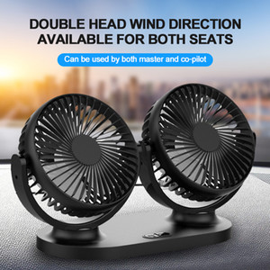 2020 new car fan dual head dual switch moving head USB charging small fan 360° rotation Large Wind car accessories for