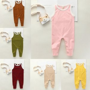 2020 Baby Summer Clothing 0-24 Newborn Infant Baby Boy Girl Solid Romper Clothes Sleeveless Summer Outfit Jumpsuit