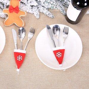 10PCS Mini Sombrero de Santa con cuerda Navidad navidad Titular Bolsillos Tapa de botella de vino Topper Candy Cover Party Decor Crafts