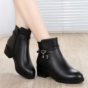 GKTINOO 2019 новая мода мягкая натуральная кожа Женские ботильоны высокие каблуки молния обувь теплая шерсть мех зимние сапоги для женщин