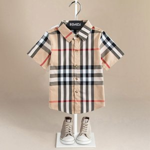Tshirt Big Checked Shirt Clothing shirt Stitching Vertical Striped Plaid Kids Designer Clothes Boys Kids Luxury Designer Clothes Girls Polo