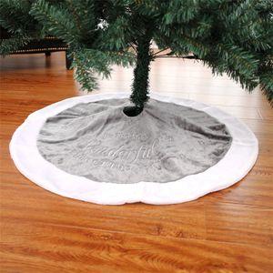 90cm d'arbre de Noël Jupe de broderie court velours Tapis Mat Arbre de Noël Tapis revêtement de pied Nouvel An vacances Décoration JK1910