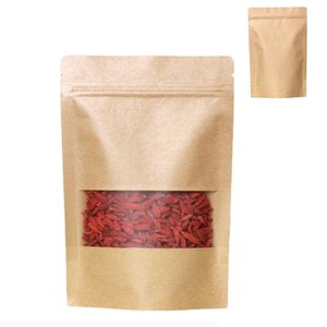 Reusable Grocery Bags Stand Up Food Pouches Kraft Paper Bags with Matt Window FDA Barrier Bags for Beans Candy