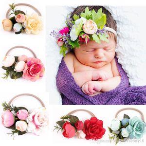 인 아기 꽃 머리띠 헤어 액세서리 유아 꽃 탄성 헤어 밴드 사진 소품 6 개 색상 새로운 도착