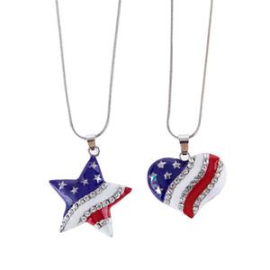 Heart Shaped Flag-Anhänger-Charme USA-Flagge-Kristall-Halskette und amerikanische Flagge Pentagramm Halskette Die Old Glory Halskette Geschenk