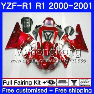Тело для YAMAHA YZF 1000 YZF R 1 YZF-1000 YZFR1 00 01 кадр 236HM.AA YZF-R1 00 01 Кузов темно-красный запас YZF1000 YZF R1 2000 2001