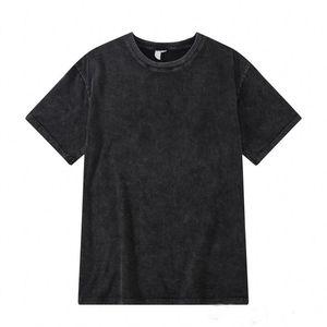 FOG Washed Loose T Shirts for Men High Street Vintage Blackgray Tees Fashion Solid Tshirts