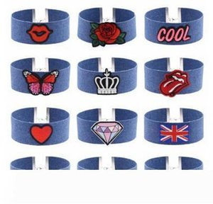New Blue Jeans Colar Gargantilha bordado Collar Rose Arrefecer Charme borboleta Bandeira Nacional Diamante Coroa do coração por Mulheres Jóias