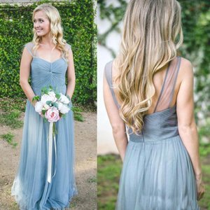 2019 더스티 블루 캡 슬리브 Tulle Long Bridesmaid Dresses Ruched Floor Length 웨딩 게스트 드레스 Long Maid of Honor Dresses