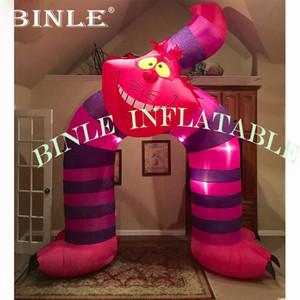 Rosa Werbung aufblasbare Katze-Form-Bogen mit LED-Leuchten Inflatable Willkommen Arch für Party Eingang Dekoration