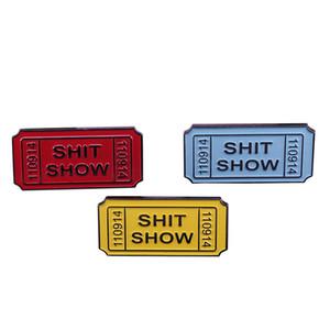 Mierda show ticket esmalte pin set sarcástico blasfemia humor insignia divertido accesorio geek colección