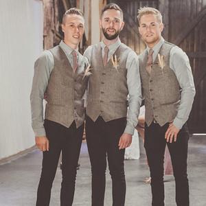 2019 Modest Coletes de Lã Noivo Estilo Britânico dos homens Colete Slim Fit dos homens Vestido Colete Casamento Coletes Padrinhos de Vestuário Custom Made