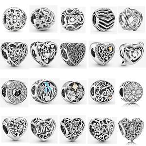 925 Sterlingsilber-Pavé Herz Jahrestag Charm funkelnde Linien Perforierte Charme passende Pandora Original-Charm Bracelets
