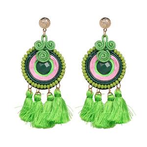Grand gland Drop Stud pour les femmes mode déclaration Bohemian Beach Style ethnique à la main Dangle Lustre Long Boho boucle d'oreille bijoux