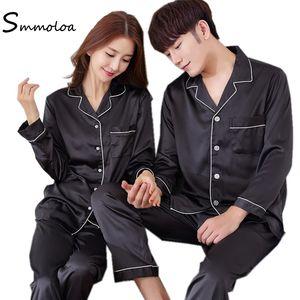 Smmoloa Paar Silk Pyjamas Paar Nachtwäsche Solid Color Seide Pyjama