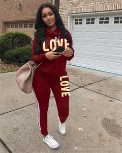 LOVE 2 Piece Womens Tracksuits Long Sleeve Cowl Neck Letters Printed Ladies Casual Sports Suits Relaxed Womens Clothing