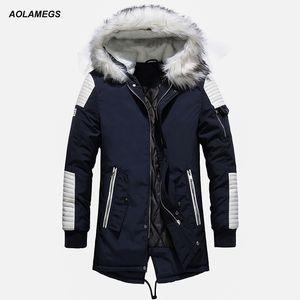 Aolamegs Kürk Yaka Kış Ceket Erkekler Patchwork Kalın Kapşonlu Aşağı Ceket Erkekler Parkas Moda Windproof Coat Erkek Streetwear