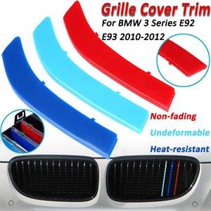 3D Araba Ön Izgara Trim Spor Şeritler Için Kapak BMW E92 E93 10-12 3 renk Hood Tampon Böbrek Izgara Izgara Motorsport Etiketler
