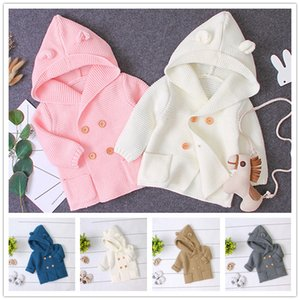 Bebek Temel Tarzı Kapüşonlu Jumper 3-24 m için 5 renkler erkek kız sevimli ayı kulaklar hoodie örme kazak bebekler sonbahar kış sıcak moda ceket
