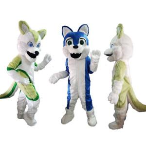 Venta directa de fábrica Husky Wolf traje de la mascota de calidad superior tamaño adulto Cartoont perro azul perro navidad carnaval trajes de fiesta