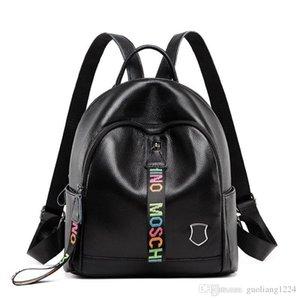 Designer de Backpack verdadeiro couro ombro de Moda de Nova Cowskin cabeça Mulheres Bag Design Preto Viagem Mochila Ombro Único de inclinação Bag