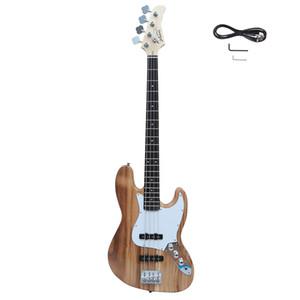 Glarry électrique GJazz guitare basse Cord outil clé Burlywood avec sac sangle de guitare Amp fil pour les débutants