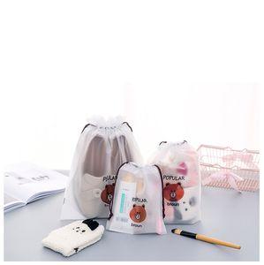 방수 크리 에이 티브 휴대용 여행 화장품 가방을 마무리 휴대용 방진 저장 키트를 졸라 매는 끈 만화 갈색 곰 주머니를 번들
