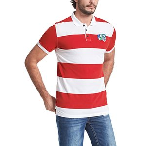 Fashion-Mens Striped Shirts Summer Stand Collar Short Sleeve Tops Male Shirt M-3XL 100% Cotton