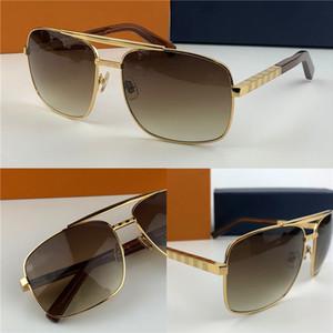 Moda óculos de sol 0259 de duas cores de metal quadrado quadro retro homens clássicos ao ar livre de alta qualidade óculos de proteção UV400 com case1080 Laranja