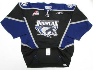 barato costume SWIFT CURRENT BRONCOS WHL PRETO PRO hockey jersey ponto adicionar qualquer número qualquer nome Mens Hockey Jersey XS-6XL