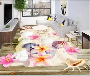 3d pvc flooring custom photo Beach Shell Flower 3D Bathroom Floor self adhesive wallpaper 3d wall murals wallpaper