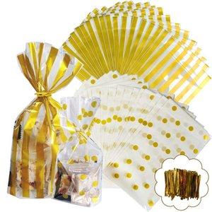 100PCS or OPP Sacs avec Ties Twist pour Cookie, Boulangerie, sucrerie, doux, gâteau et des collations Durable Treat Cello Sacs transparents
