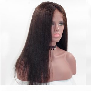 Front Lace Human Hair Wigs Yaki Straight With Baby Hair Glueless Light Yaki Full Lace Human Hair Wig Pre Plucked