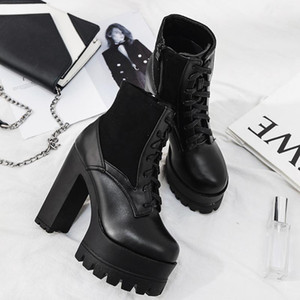 2019 Korean Autumn Winter New Fashion Super High Heel Thick Heel Women &#039 ;S Short Boots Waterproof Platform Thick Bottom Martin Boots