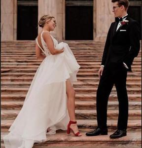 로맨틱 한 웨딩 드레스 V 넥 등이없는 스윕 기차 A 라인 레이스 톱 보헤미안 컨트리 가든 비치 신부 가운 vestido 드 노비