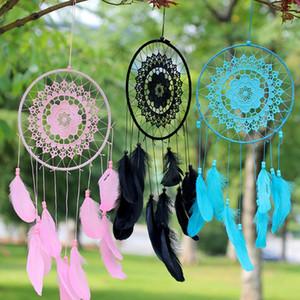 Handmade Lace Dream Catcher Branco Dreamcatcher Wind Chimes Circular com penas de suspensão Decoração do ornamento Craft Gift Crocheted YSY98Q