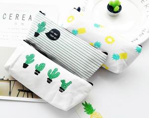 Cactus sac à crayons pastorale bandage toile étui à crayons plante trousse de maquillage zipper pochette cosmétique 21 * 9 cm