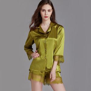 QWEEK Startseite Kleidung-Sommer-Pyjamas für Damen Zweiteiler Lounge Wear Pyjama Satin Femme 2020 Pijamas Frauen Sexy Nightie 2020