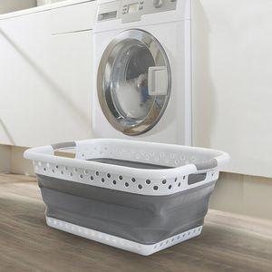 Plastic Large Foldable Hamper Basket Laundry Basket Laundry Buckets Save Space Bathroom Car Storage Baskets Home #N