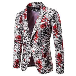 Мужские Контрастные Цвета Печати Блейзеры Дизайнер Плюс Размер Мода Мужской Slim Fit Костюмы Куртки Топы Пальто Наряд