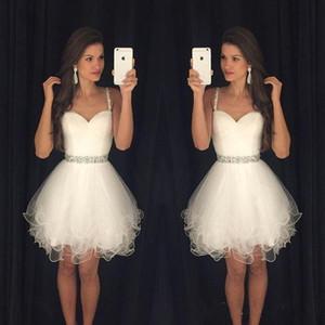 2019 New Arrival Vestido Formatura Curto 홈 커밍 드레스 Sweetheart 파란색 스트랩 Backless 짧은 흰색 무도회 드레스 BA3623