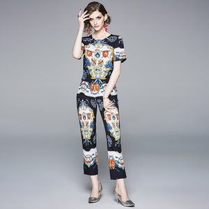 Fashion Designer Runway Suit Set 2020 Summer Vintage blue Print Women Top + Casual Pencil Pants Suit Two Piece Set
