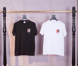 Início da primavera T-shirt de manga curta gola redonda 2020 nova TB carta Mosaic cavaleiro guerra logotipo bordado para homens e mulheres