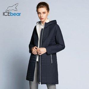 İcebear 2019 Hood Moda Kadınlar Yastıklı Marka Sonbahar Ceket Parka B17G292DMX190907 ile Sonbahar Uzun Pamuk Kadın Coats