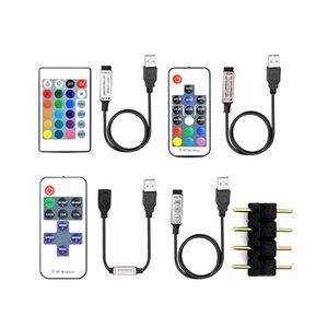 Controlador de 5V tira de LED RGB Accessorios / Color único conector de 4 pines 3Key / 17 teclas RF / IR 24key distancia Para Tira de luz LED USB