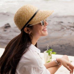 2019 New larges bords Sun Chapeau solide casquette de baseball Tendance Straw Beach Resort Cap Chevalier Visor pour les femmes dames