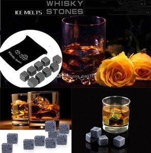 Yeni 900pcs / 100set Yüksek Kalite Doğal Taşlar 9pcs / set Whisky Taşlar Cooler Soapstone Ice Cube ile Kadife Depolama Kılıfı 2054