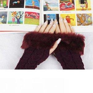 Lady di trasporto delle donne inverno lavorato a maglia senza dita Faux della pelliccia del coniglio del polso della mano Warmer Guanti Mitten